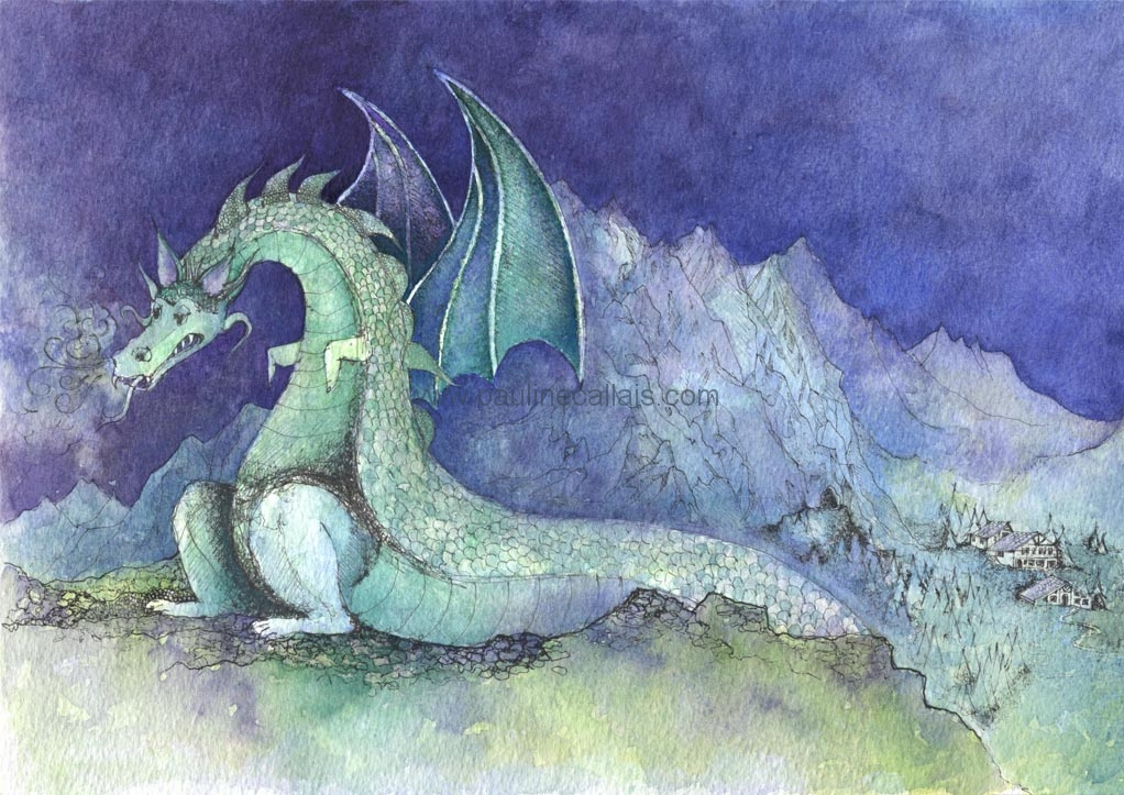 Book Cover Watercolor Artists : 'wolfgang the dragon illustration for children s book